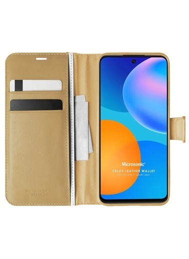 Microsonic Huawei P Smart 2021 Kılıf Delux Leather Wallet Altın